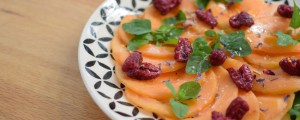 Carpaccio de melon aux framboises